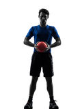 Młody człowiek ćwiczy handball gracza sylwetkę Obraz Royalty Free