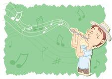 Młody człowiek bawić się flet Obraz Stock