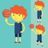 Młody człowiek bawić się koszykówkę ilustracji