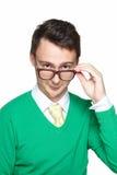Młody Człowiek Jest ubranym Eyeglasses Zdjęcia Stock