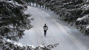 Młody człowiek jogging outdoors w miasto sosny parku Zima sport, sprawności fizycznej motywacja zbiory wideo