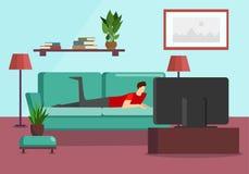 Młody Człowiek Kłama na kanapie Ogląda Telewizyjnego program ilustracji