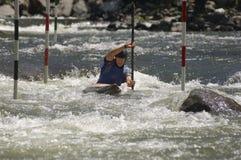 Młody Człowiek Kayaking Obraz Royalty Free