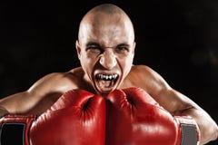 Młody człowiek kickboxing na czerni z kapą w usta Zdjęcie Royalty Free