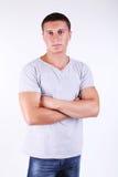 Młody człowiek nad biel Zdjęcia Royalty Free