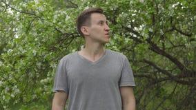 Młody człowiek obwąchuje kwiatu jabłoń Wiosny alergia zbiory wideo
