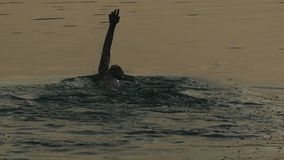 Młody Człowiek Pływa Backstroke w Iskrzastej rzece przy nocą w lecie w Mo zbiory