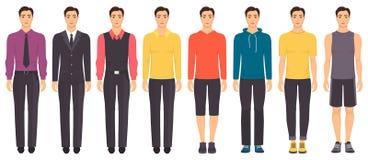 Młody człowiek pozycja w pełnym przyroscie w różnym odziewa, formalny, biznesowy, codzienny, sporty Mężczyzna w eleganckich i prz Obrazy Royalty Free