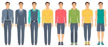 Młody człowiek pozycja w pełnym przyroscie w różnym odziewa, formalny, biznesowy, codzienny, sporty Mężczyzna w eleganckich i prz ilustracji
