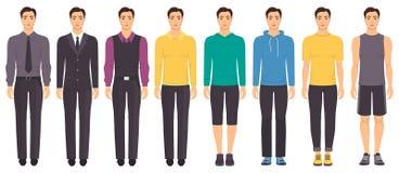 Młody człowiek pozycja w pełnym przyroscie w różnym odziewa, formalny, biznesowy, codzienny, sporty Mężczyzna w eleganckich i prz Zdjęcie Royalty Free