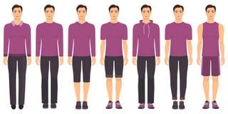 Młody człowiek pozycja w pełnym przyroscie w różnym odziewa, formalny, biznesowy, codzienny, sporty Mężczyzna w eleganckich i prz Zdjęcia Stock