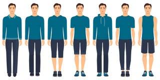 Młody człowiek pozycja w pełnym przyroscie w różnym odziewa, formalny, biznesowy, codzienny, sporty Mężczyzna w eleganckich i prz Obraz Stock