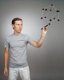 Młody człowiek pracy z modelem molekuła Zdjęcia Royalty Free