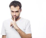Młody człowiek robi cisza gestowi, shhhhh! obraz royalty free