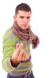 Młody człowiek robi gestowi z jego rękami Fotografia Royalty Free