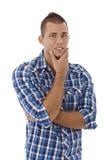 Młody człowiek target493_0_ przy kamerę ja target495_0_. Zdjęcie Stock