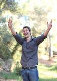 młody człowiek target624_0_ jego radość obraz royalty free