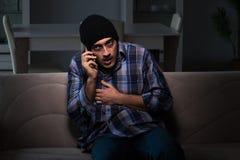 Młody człowiek w agoni ma problemy z narkotykami Zdjęcia Royalty Free