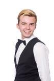 Młody człowiek w czarnej klasycznej kamizelce odizolowywającej dalej Zdjęcia Stock