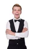 Młody człowiek w czarnej klasycznej kamizelce odizolowywającej dalej Zdjęcia Royalty Free