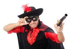Młody człowiek w karnawałowym żakiecie z pistoletem odizolowywającym dalej fotografia stock