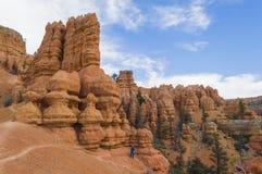 Młody Człowiek Wycieczkuje w Kolorowych Rockowych formacjach Czerwony jar Utah Zdjęcia Royalty Free