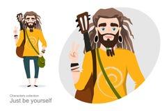 Młody człowiek z dreadlocks i gitarą ilustracja wektor