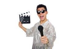 Młody człowiek z mikrofonem i clapperboard Fotografia Stock