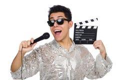 Młody człowiek z mikrofonem i clapperboard Obraz Stock