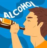 Młody człowiek z nałogiem alkoholiczny napój, alkohol zależność, złego przyzwyczajenia wektoru ilustracja ilustracji