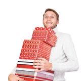 Młody człowiek z prezentami Fotografia Stock
