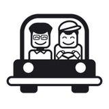 Młody człowiek z przyjacielem jedzie samochód również zwrócić corel ilustracji wektora Obraz Stock