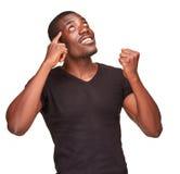 Młody czarnego afrykanina mężczyzna główkowanie i reminiscing Obraz Royalty Free