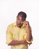 Młody czarnego afrykanina mężczyzna główkowanie i reminiscing Zdjęcia Stock