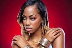 Młody czarny piękno z perfect skórą Fotografia Stock