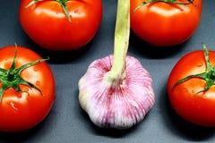 Młody czosnek otaczający cztery czerwonymi soczystymi i dojrzałymi pomidorami na czarnym tle zdjęcia royalty free