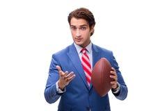 Młody elegancki mężczyzna z rugby piłką odizolowywającą na bielu fotografia stock