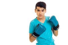 Młody facet w błękitnym boksie i koszula Zdjęcia Royalty Free