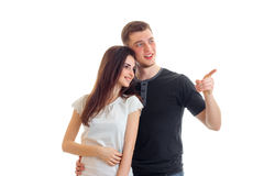 Młody facet w miłości coś ręki dziewczyny piękny ono uśmiecha się Obrazy Stock