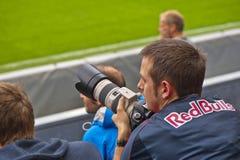 Młody fan piłki nożnej przy trybuną fotografia royalty free