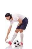 Młody futbolista odizolowywający na bielu obraz royalty free