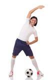 Młody futbolista odizolowywający na bielu zdjęcia royalty free