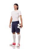 Młody futbolista odizolowywający na bielu Obrazy Royalty Free