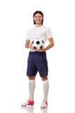 Młody futbolista odizolowywający na bielu Obraz Stock