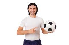 Młody futbolista odizolowywający na bielu Zdjęcia Stock