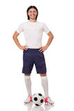Młody futbolista odizolowywający na bielu Fotografia Royalty Free
