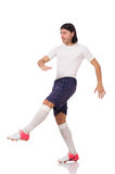 Młody futbolista odizolowywający na bielu Fotografia Stock
