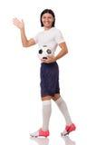 Młody futbolista odizolowywający na bielu Zdjęcie Royalty Free