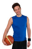 Młody gracz koszykówki odizolowywający na białym tle Obrazy Royalty Free