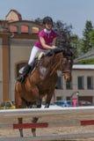 Młody horsewoman w akci pionowo Fotografia Royalty Free